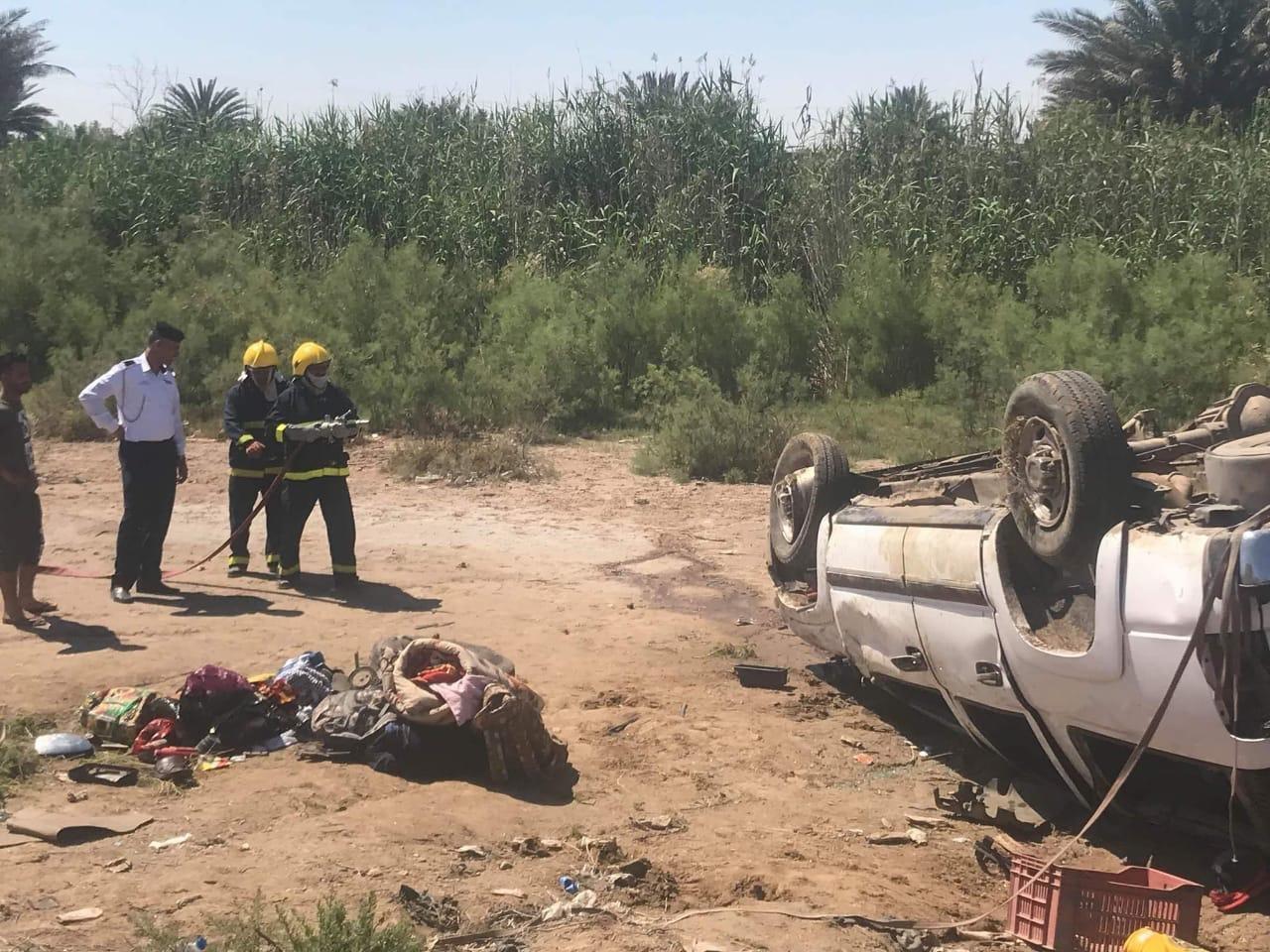 مصرع شخصين واصابة خمسة اخرين بحاث مروع على طريق كوت_بغداد